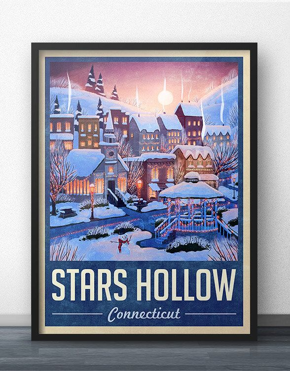 Stars Hollow Winter Holiday Travel Poster - Inspired by Gilmore Girls by WindowShopGal on Etsy https://www.etsy.com/uk/listing/255377190/stars-hollow-winter-holiday-travel