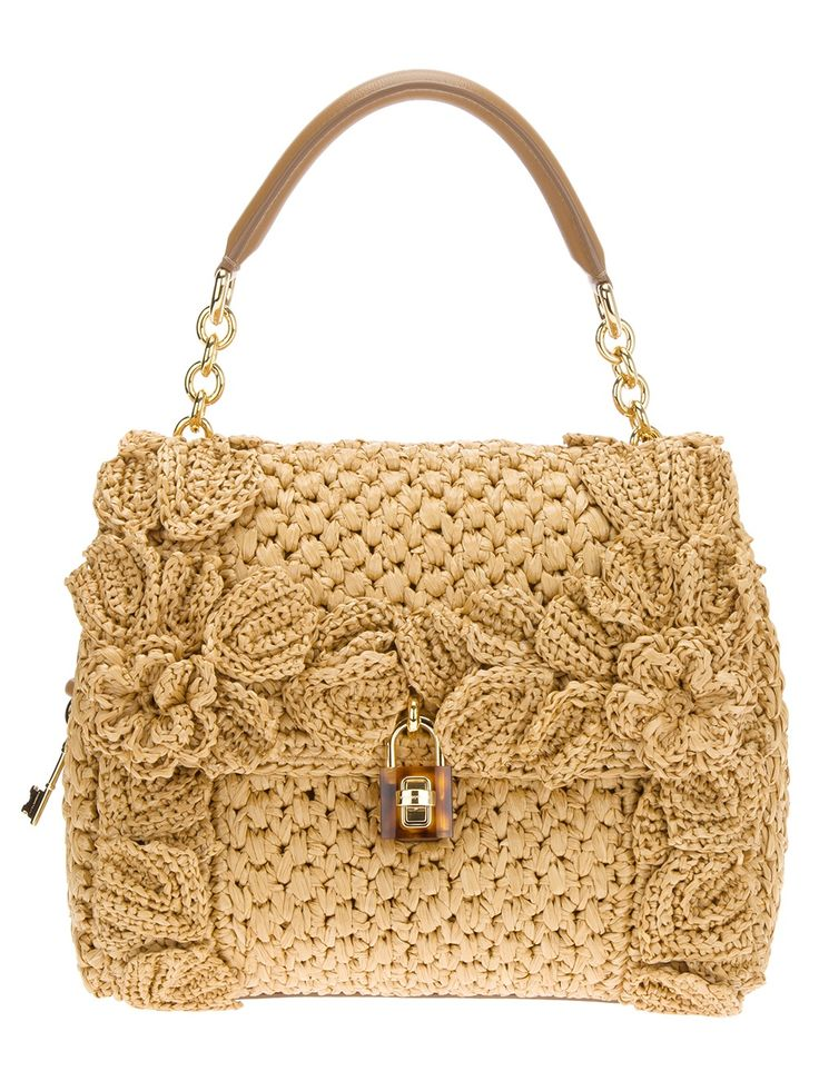 Dolce & Gabbana 'Sicily' Raffia Handbag. Decorate a hand bag with flowers made of spool knitted worms