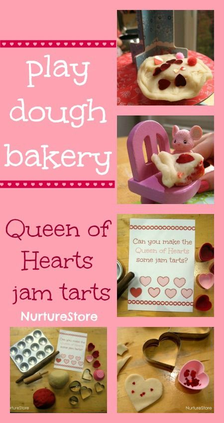 Royal play dough! A Queen of Hearts jam tart bakery, lots of play-based math, reading and writing included, and some free printables. Fab!