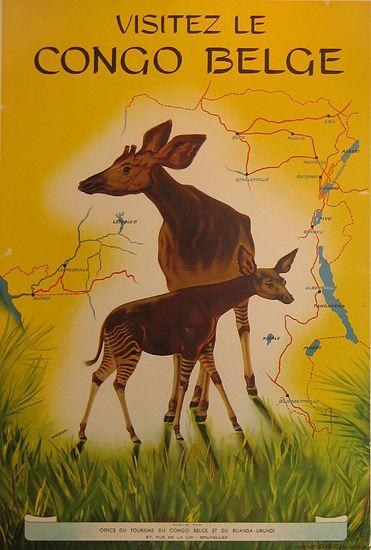 Visitez le Congo Belge, c. 1950 #vintage #tourism #poster