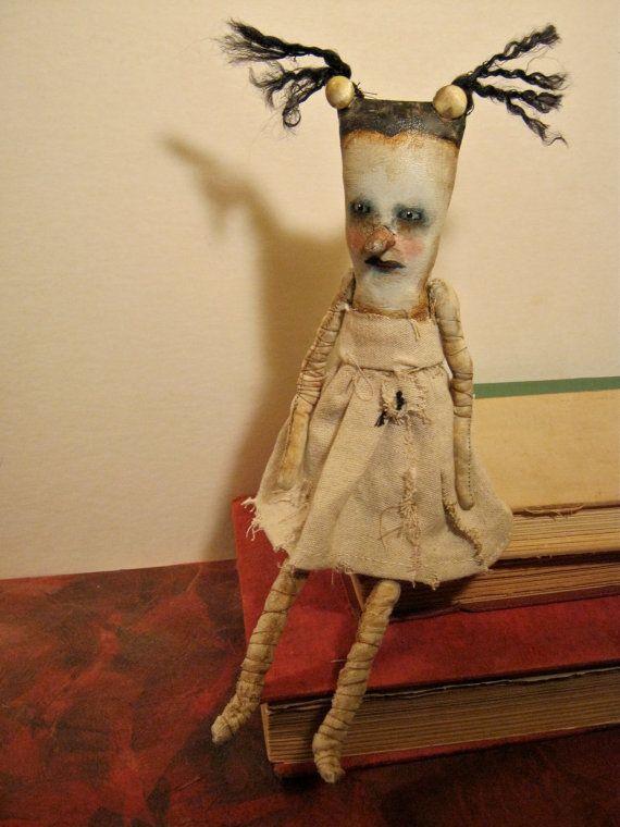 weird art doll, creepy doll, bizarre dancer,stitched linen, spooky odd, doll art