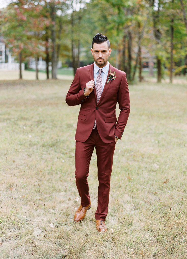 groom in a fall maroon suit  #stylishgroom #groomstyle
