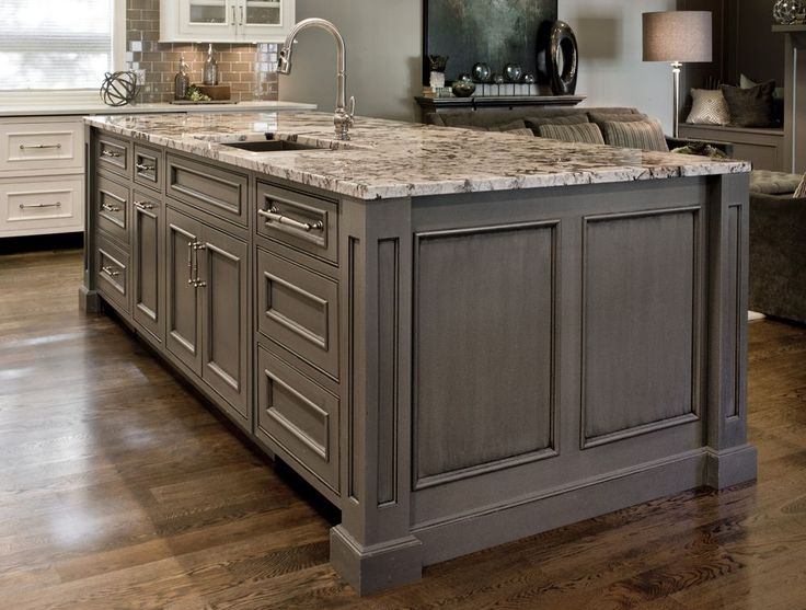 Inset Doors With Beaded Face Frame Openings, Gray Painted Island, Grey Kitchen  Island,