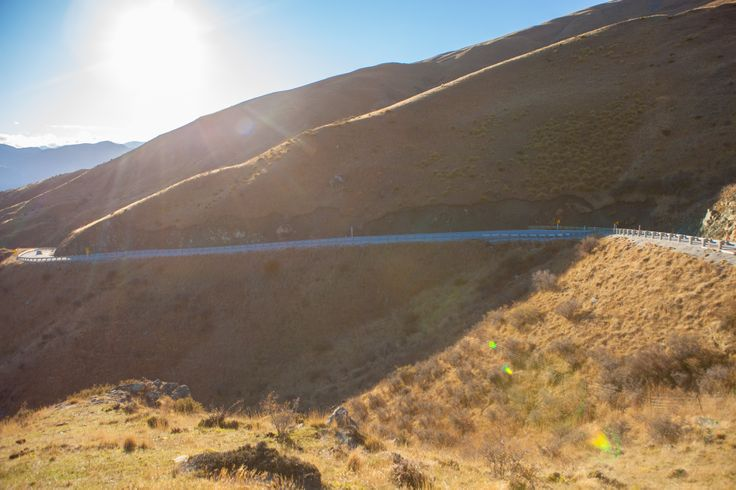 Mountain Road - Crown Range, Queenstown side upper turns, aggressive turns, gravel on road.