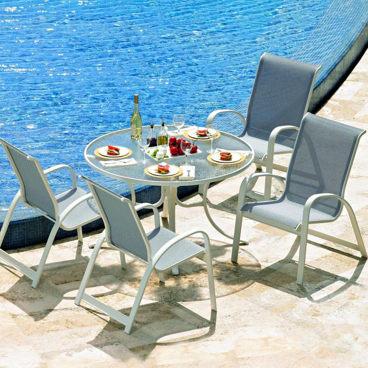 Primera 5 Piece Aluminum Patio Dining Set With Round Glass Top Table U0026  Stacking Chairs With Sling Seating By Telescope Casual : Ultimate Patio