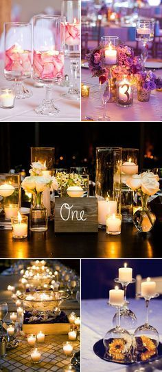 I only really like the middle photo. The spelled out number looks much nicer than the actual number- i really like the tiny candles and short bouquets!! No floating candles or mirrors though, simple and classy and effortless and fun! But with zero flotation.