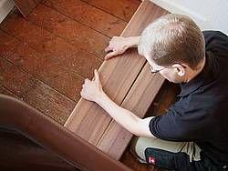 Laminat auf Treppen verlegen, Trittfläche, Foto: BHK Holz- und Kunststoff KG H. Kottmann