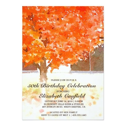 Watercolor Birthday Invitations Watercolor Autumn Leaves | Fall Birthday Party Card