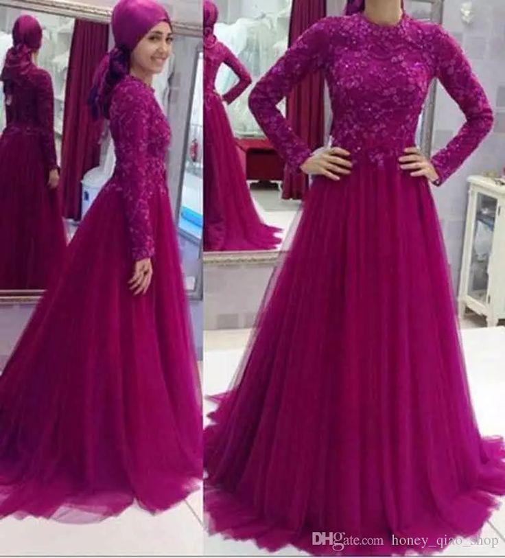 Honey Qiao Long Dresses 2017 Muslim Long Sleeves A Line Purple Custom Made Tulle Floor Length Lace Vestido De Festa Formal Gown Wedding Dress Manufacturers Wedding Dresses Fitted From Honey_qiao_shop, $128.64| Dhgate.Com