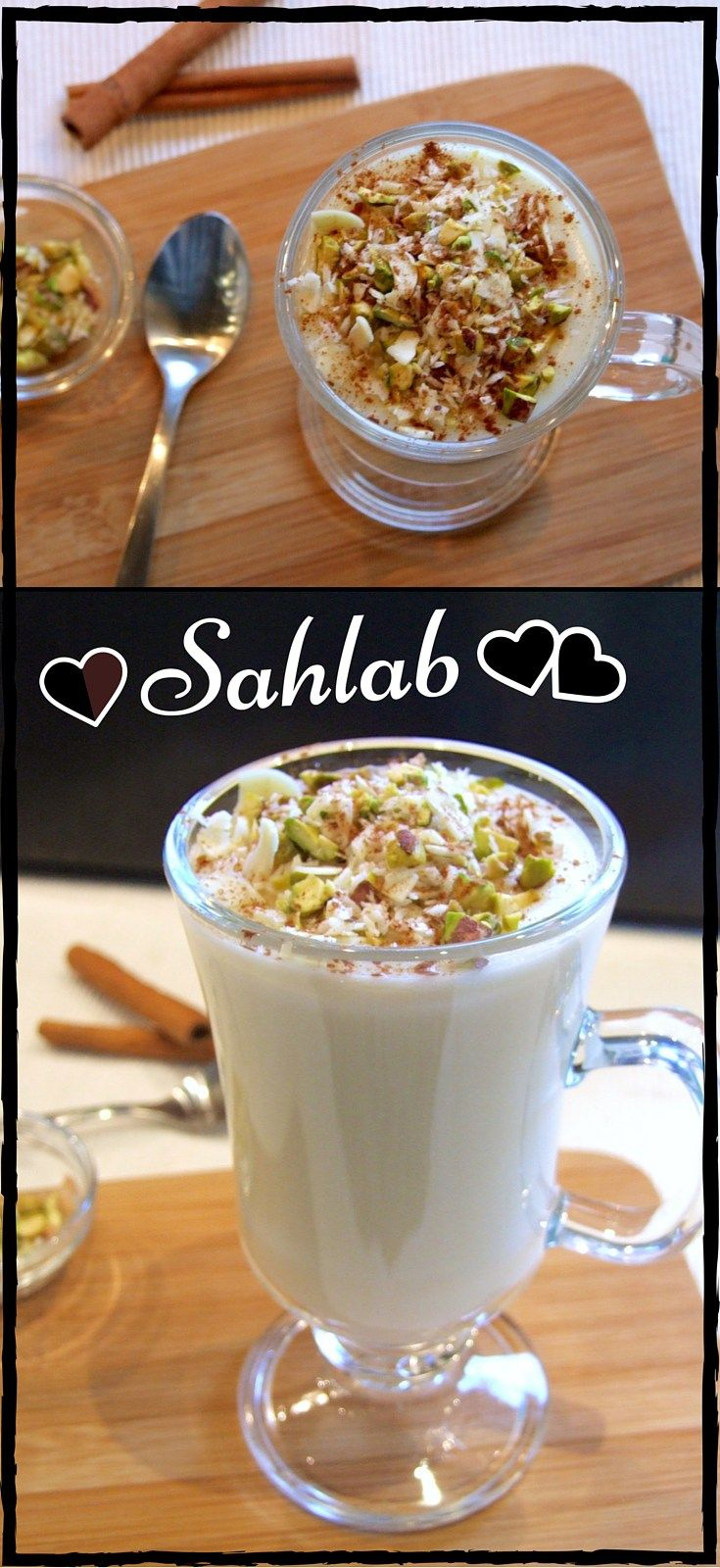 Rich, creamy & delicious, topped with nuts and cinnamon, sahlab is a winter treat! The perfect hot drink to say 'I love you' :-D