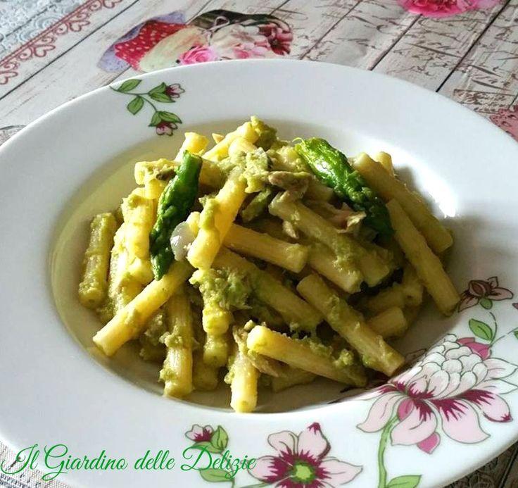 Sedanini+con+crema+di+asparagi+e+pancetta+dolce