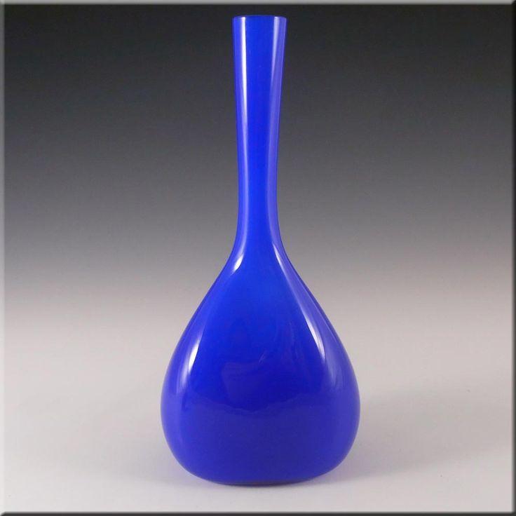 Elme 70s Scandinavian Blue Cased Glass 'Flattened' Vase - £30.00