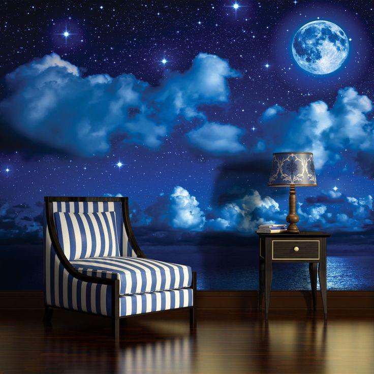 fototapete tapete tapeten wandbild poster foto wasser himmel mond nacht 1731 ve. Black Bedroom Furniture Sets. Home Design Ideas