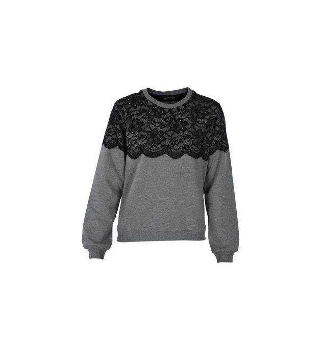 Naughty Dog #FW1415 fleece #sweatshirt with top decorated with lace & #swarovski crystals.