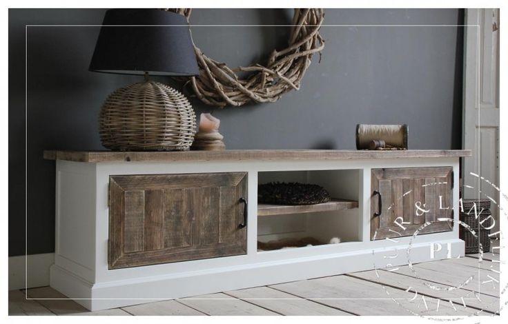 Maatwerk! Landelijk tv meubel old wood / riviera white | 》Landelijk tv meubel / flatscreenmeubel / flatscreenkast | Puur & Landelijk Living