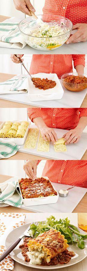 Rouleaux de lasagne crémeux - Une façon originale de présenter la lasagne. Pour d'autres bonnes idées, consultez le magazine qu'est-ce qui mijote, en ligne maintenant à http://www.kraftcanada.com/fr/whatscookingarchive/BrowseByCover.aspx