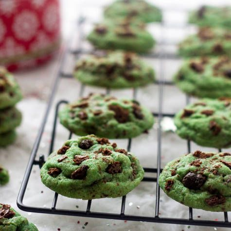 These mint chocolate chip cookies are a twist on the classic sugar cookie recipe and are quick, easy and even whole wheat! Perfect for Christmas!