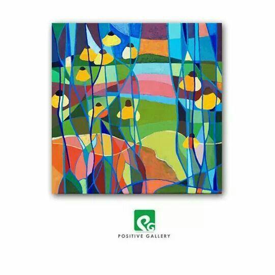 Garden. Acrylic painting 40 x 40.  2014 r.  positivegallery.pl
