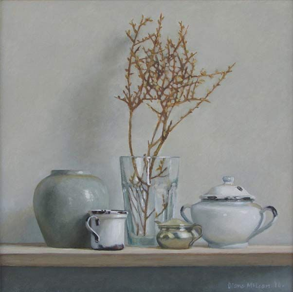 Diane McLean | Still life with child's cup | 2014 | Oil on board (290 x 295mm) | #art #stilllife #painting | www.art.co.za/dianemclean/html