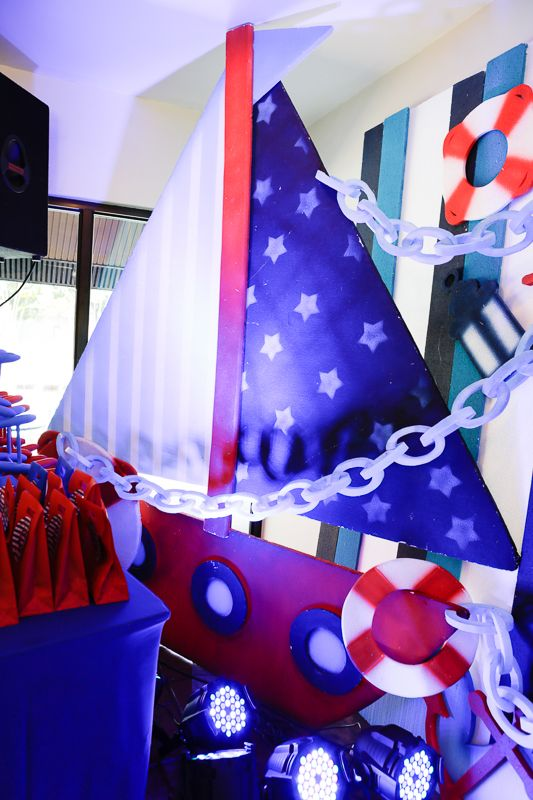 Nautical Themed Birthday Party stage backdrop
