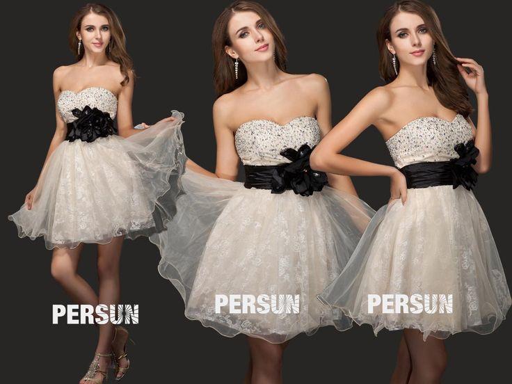 #Vestido de #Cóctel #Escote Corazón #Organza Apliques Corte A - Persun.es