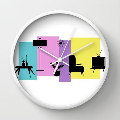 Retro Loungeroom Wall Clock by designed to a T - $30.00