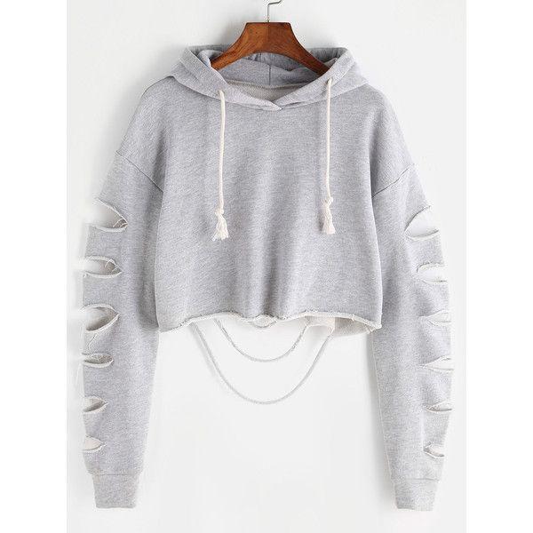 Heather Grey Drop Shoulder Ripped Sleeve Crop Hoodie (€11) ❤ liked on Polyvore featuring tops, hoodies, grey, grey hoodies, long sleeve pullover, long sleeve hooded sweatshirt, cropped pullover hoodie and long-sleeve crop tops