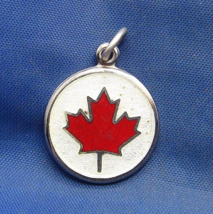 Vintage Sterling Silver & Enamel Maple Leaf Charm marked BMCo STERLING