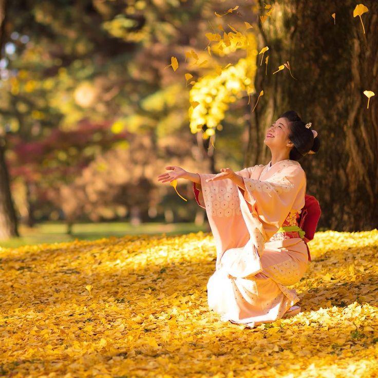 November 2016: Cute Maiko Katsuna (Daimonji Okiya) of Kamishichiken playing with colorful leaves in a park. Source: Kinmokusei on Instagram