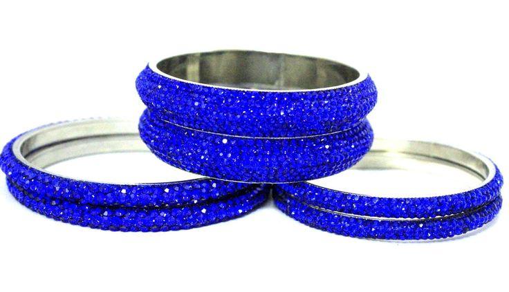 Indian Handmade Jewellery Crystals Wedding Royal Blue Metal Bangles Bracelets #mycrystalbanglesdotcom #Bangle