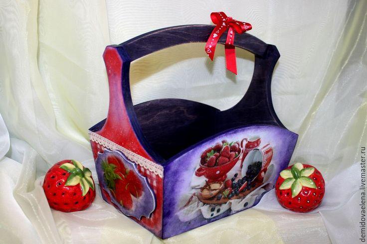 Купить Корзинка для мелочей - разноцветный, короб для хранения, интерьер, кухня ручной работы, клубника, черника