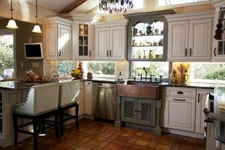 Tri Color Kitchen - traditional - kitchen - huntington - by Merri Interiors, Inc.