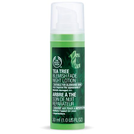 The Body Shop Tea Tree Blemish Fade Night Lotion. Wanna see if this will help my hyperpigmentation.