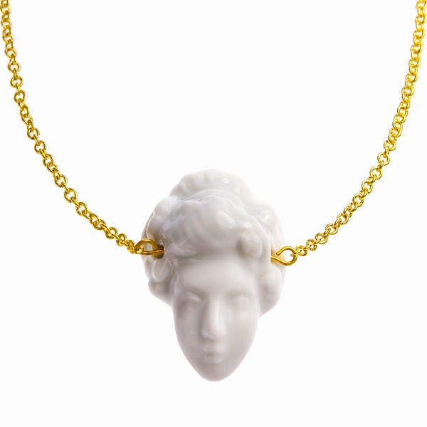 """Lady bitch"" white porcelain necklace"