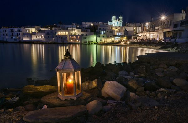 Candles in the night, port of Naoussa