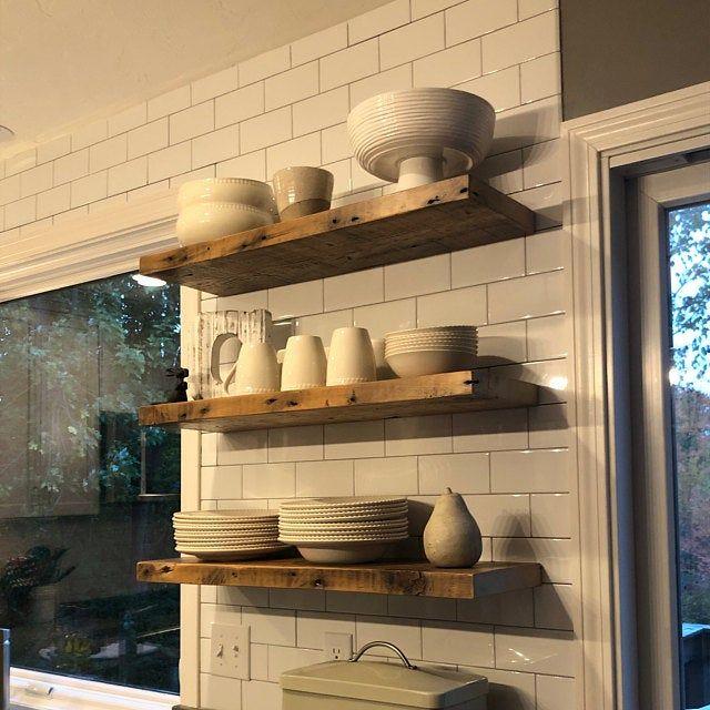 6 Deep Reclaimed Wood Shelves With 2 Handmade Steel Etsy Reclaimed Wood Shelves Kitchen Wood Shelves Reclaimed Wood Shelves