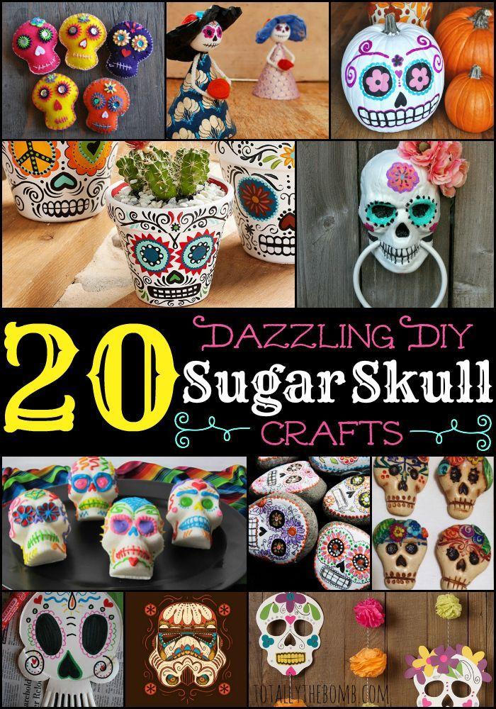 20 Dazzling DIY Sugar Skull Crafts DiaDeLosMuertos | Calaveras | Halloween | Day of the Deads