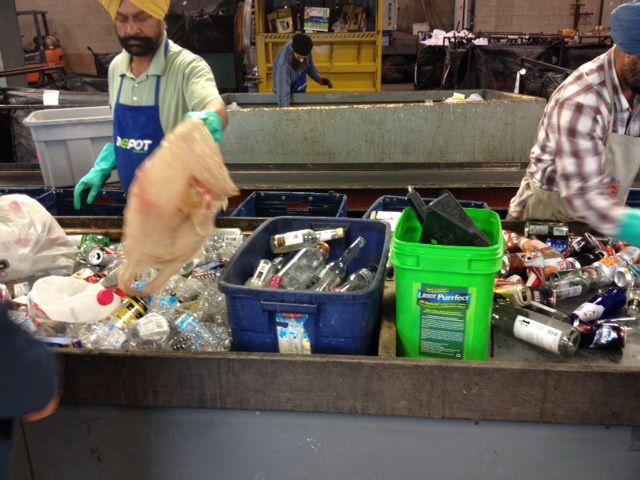 Recycling in bottle depot in Calgary-Canada