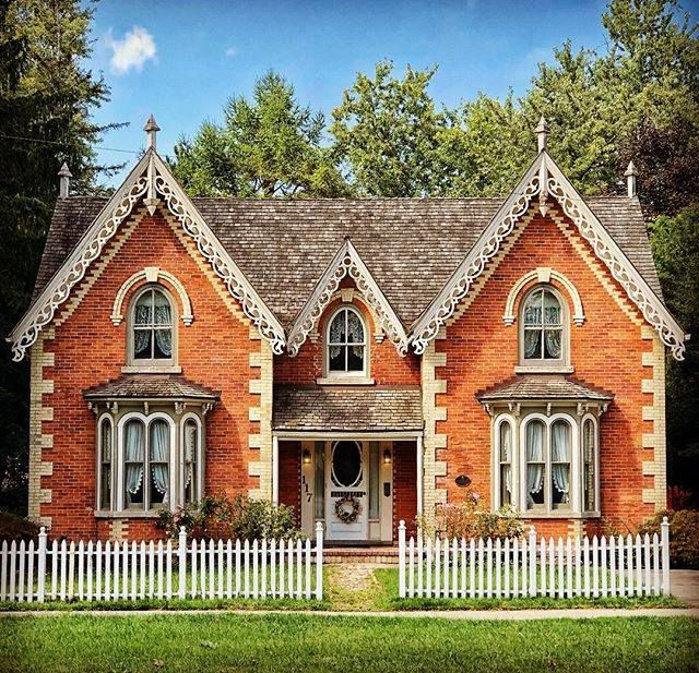 Gothic Revival House Has Steep Pitch To Its Gables House Designs Exterior Dream House Exterior Fantasy House
