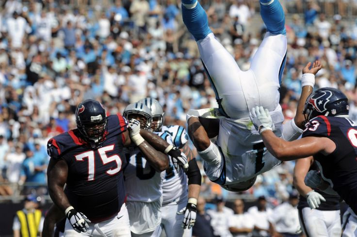 Cam Newton frontflips into endzone for spectacular rushing TD - Carolina's Cam Newton led the Panthers on a 14-play, 80-yard drive in the third quarter, scoring on a 2-yard rushing play to give Carolina a 16-10 lead. -   Sam Sharpe/USA TODAY Sports