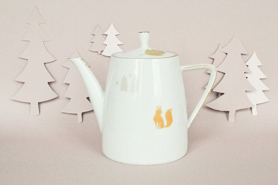 Vintage illustrated teapot with foxes by StudioRobinPieterse, $65.00