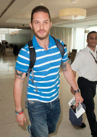Tom Hardy arriving at JFK Airport in New York.