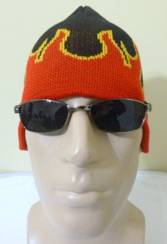 Red Black and Golden Yellow Flames Winter Knit Skull Cap Beanie Red Fire Men Women Ladies Teens Boys Girls Skully Novelty Funny Fun Joke Crazy Headwear Cold Weather Gear Knitted Hat Also Great for U of L University of Louisville Cardinals Fans