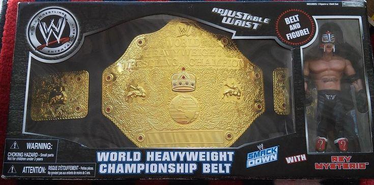 WWE World HeavyWeight Championship Belt and Rey MYSTERIO Set NeW in Sealed Box #JAKKSPacific
