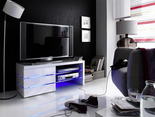 TV - Lowboard Anke inklusive LED Beleuchtung Hochglanz weiß 1 x Lowboard TV Kommode /  Media-Element mit 2 Glasplatten 3 Schubkästen und LED -Clip...