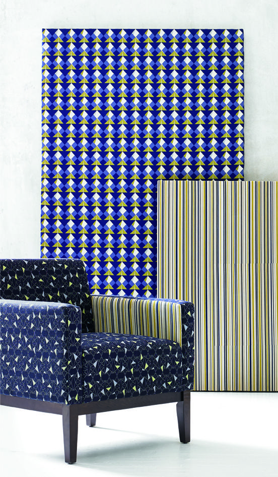 Folds Collection from Carnegie Fabrics. Artful high performance upholstery collection. Origami inspired.