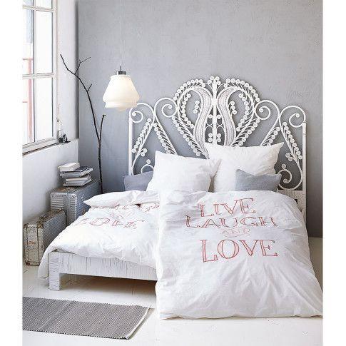 """Der Sinn der Sache! Romantische Bettwäsche zum Knöpfen mit nostalgisch gefärbtem Schriftzug """"LIVE, LAUGH AND LOVE. #impressionen #living"""