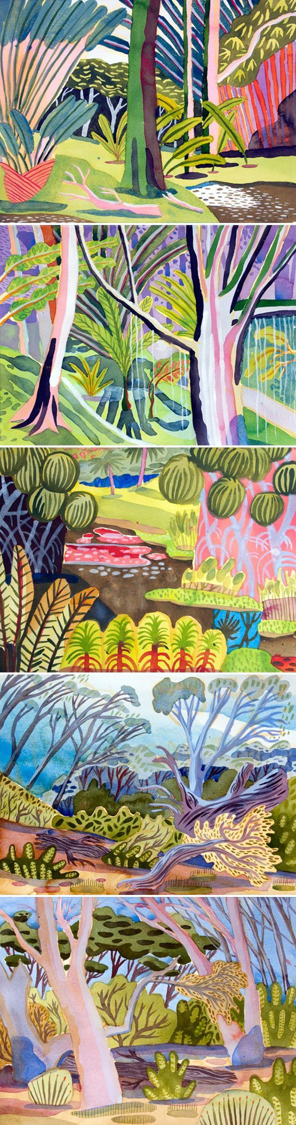 Artist: Jennifer Tyers. Original text: Plein air watercolor paintings. Um, where on earth would you have to live in order for THIS to be the magical candy-hued landscape that you were painting plein air? This is the wonderful watercolor work of Tasmanian born, Borneo based painter Jennifer Tyers… oh, well that explains it! {These are actually pieces she did in Singapore, and Sarawak, but you get the idea!}