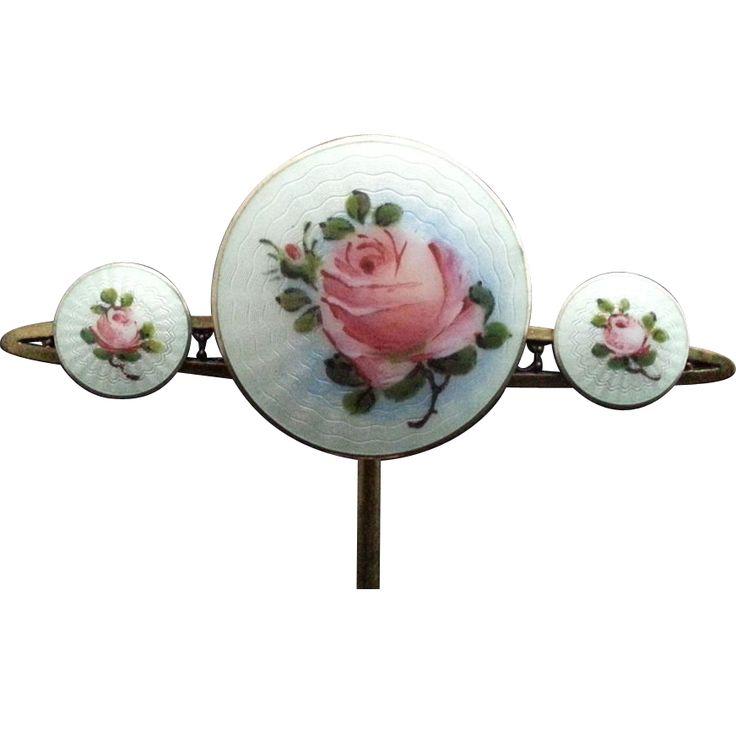 Vintage Finn Jensen Sterling Enamel Flower Pin & Earrings NORWAY