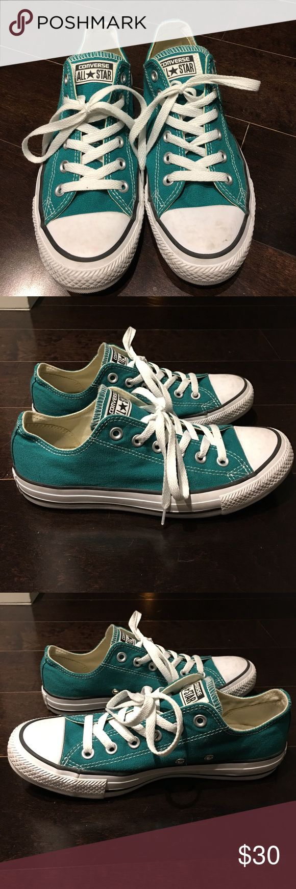 """Converse Women's Chuck Taylor Sneakers, Size 8 Classic Converse Women's Chuck Taylor Sneakers. Size 8. The color is """"rebel teal/white/black"""". Excellent, like new condition--literally worn once, as you can see from the photos. Retail $54.99! Converse Shoes Sneakers"""